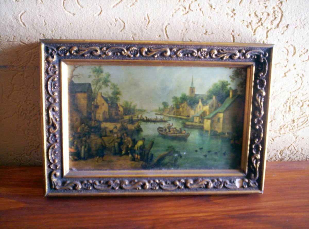 Transferir mercado vintage antiguo cuadro con marco franc s for Marco cuadro antiguo
