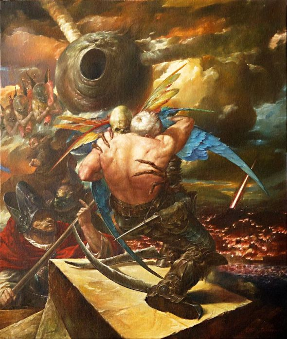 Viktor Safonkin pinturas surreais sombrias medievais mitológicas religião subconsciente Chamas do apocalipse