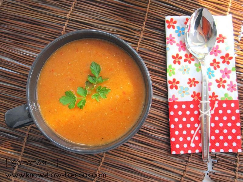 Крем супа от червена леща с печени чушки