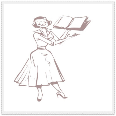 vintage lady holding a book smiling