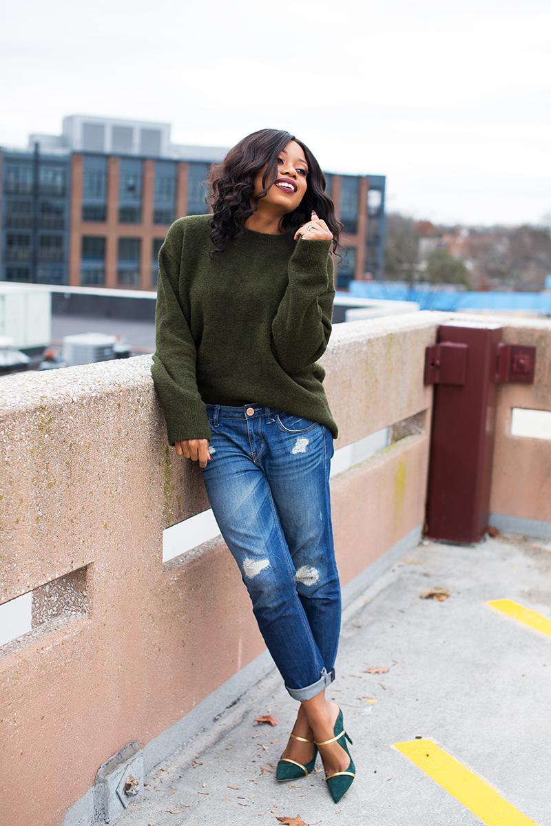 casual look, chunky sweater, boyfriend jeans, malone souliers www.jadore-fashion.com