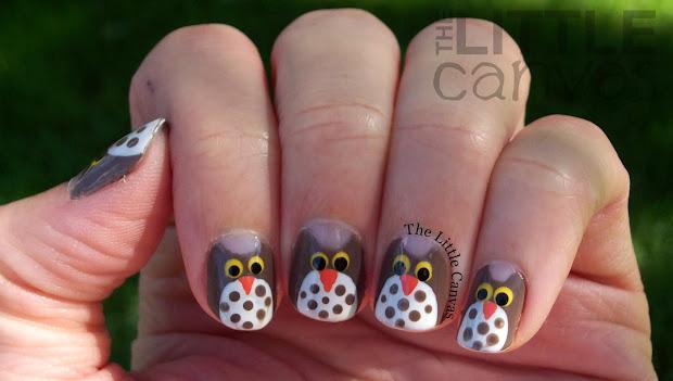 owl nail art - little canvas