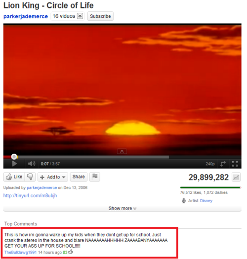 Epic Comment On Youtube Lion King - Circle Of Life