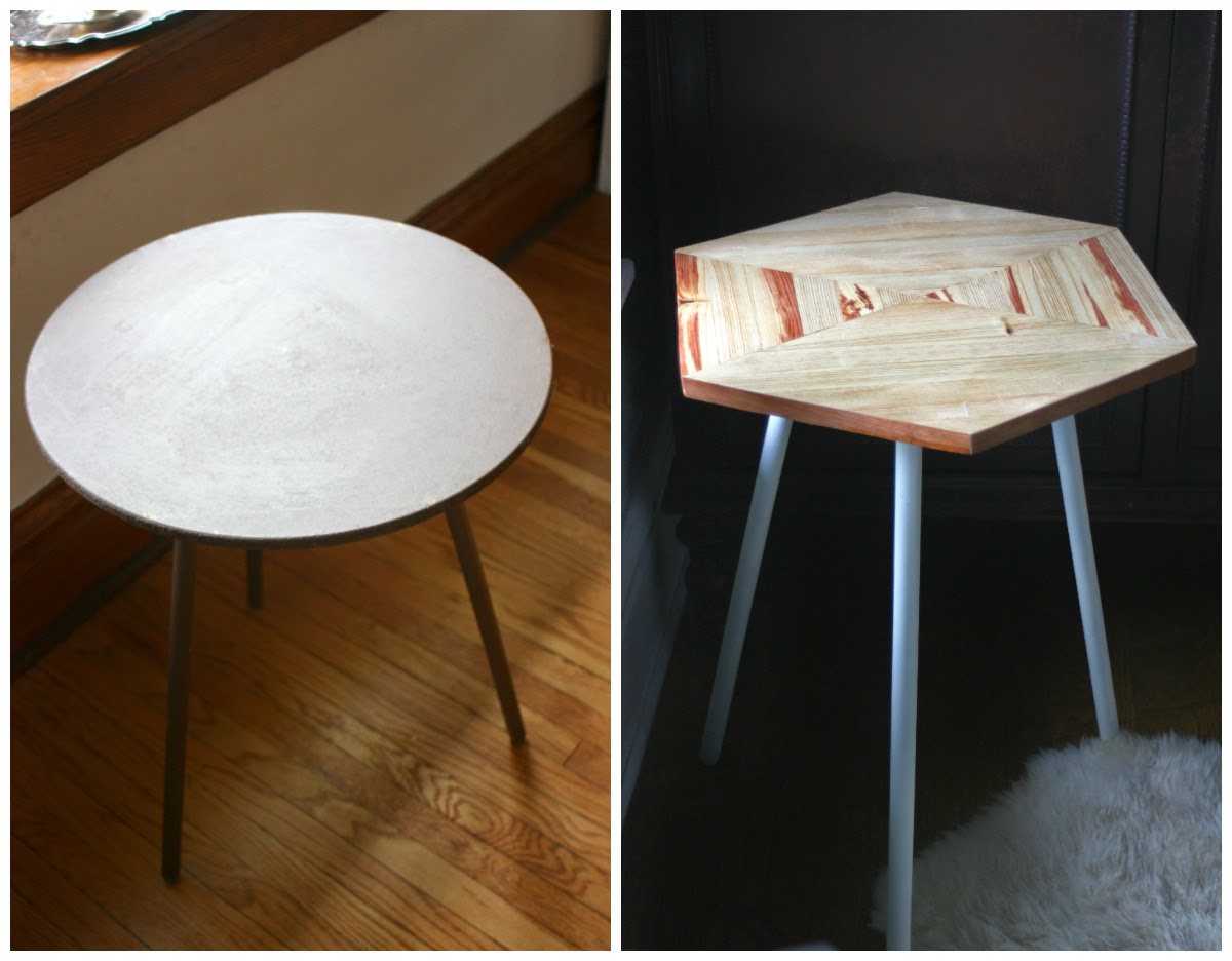From Ugly To Lovely // Tripod Table Before And After // DIY Hexagon Table