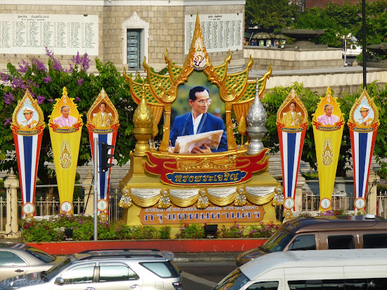 Poster of King Rama IX at Victory Monument, Bangkok