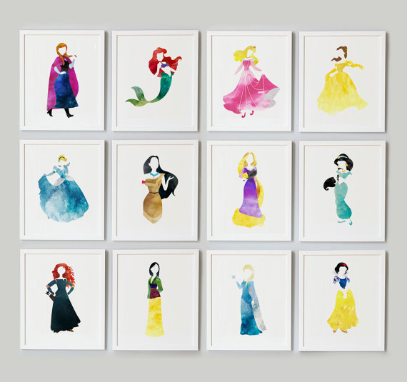 Disney Princess watercolor