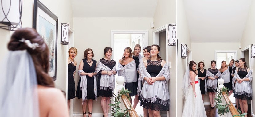 first look bride and bridesmaids photo