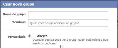 Criar um grupo no Facebook