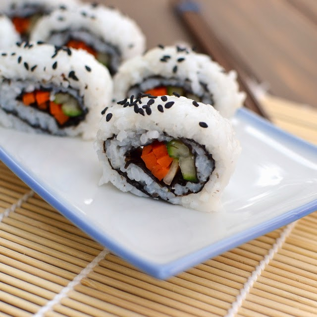 Cucumber & Carrot California Sushi Roll (Vegan Recipe)