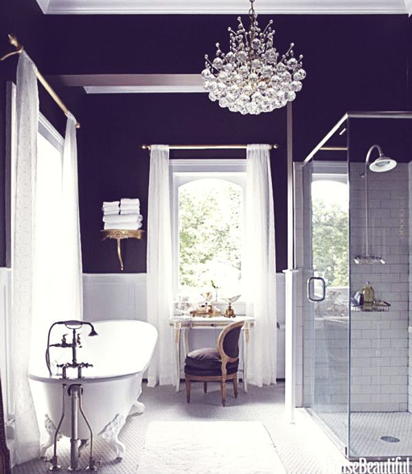 Dreams in hd interiors black white bathroom inspiration for Dark purple bathrooms