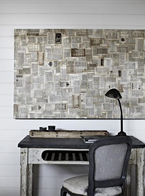 newspaper wall art ~ art projects art ideas