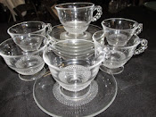 6 Cups and 9 Saucers Duncan & Miller Glass Vintage TearDrop Pattern