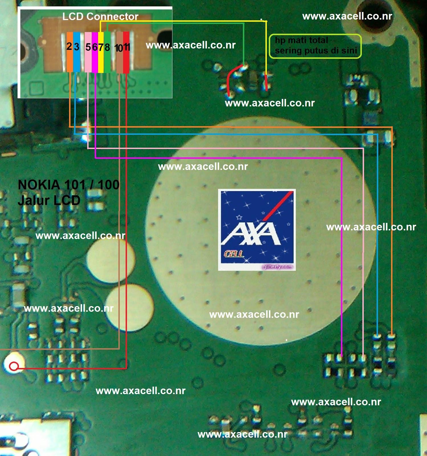 Axacell Nokia Mati Karna Jalur Lcd