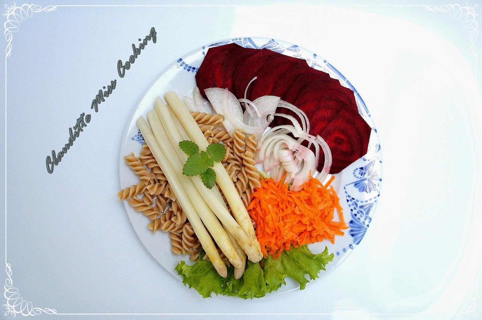 Carpaccio z buraka i białe szparagi