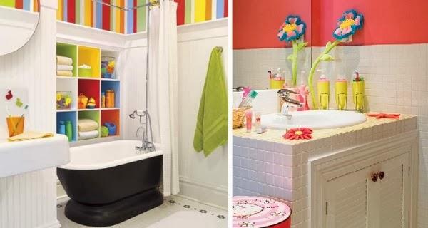 Baños Infantiles Diseno:Baño para niño divertido, alegre y colorido con rayas en las paredes