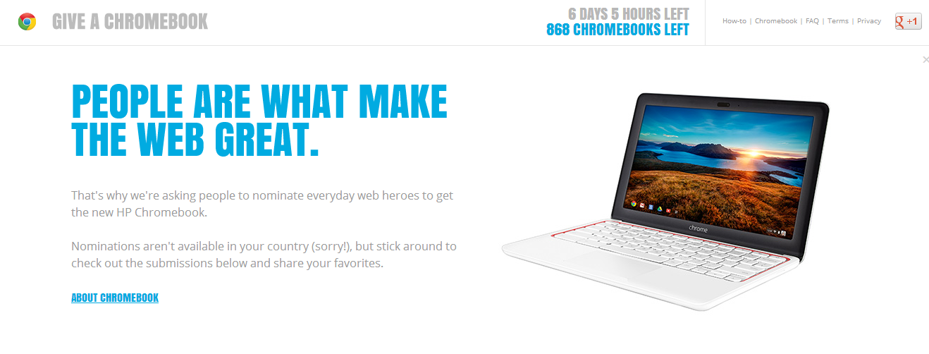 Google is giving away 868 brand new Chromebooks