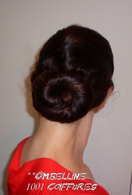 chignon cinnamon sur demi chignon banane coiffure cheveux long extension cheveux. Black Bedroom Furniture Sets. Home Design Ideas