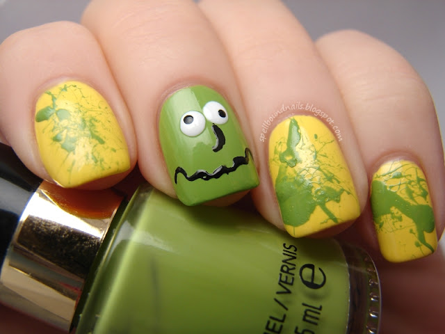 nails nailart nail art polish mani manicure Spellbound ABC Challenge Q is for Queasy Sally Hansen Mellow Yellow Revlon Garden green splatter face vomit sick