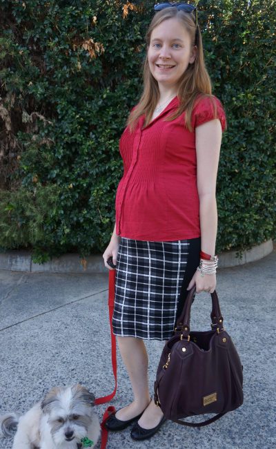 away from blue pregnant blogger maternity workwear shirt and asos tartan pencil skirt