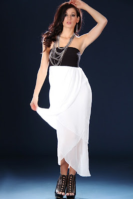 BLACK WHITE KNIT RIBBED TULIP TIER SEXY TUBE MAXI DRESS