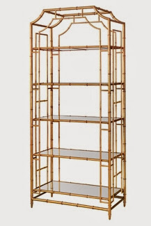 Gold metal faux bamboo etagere