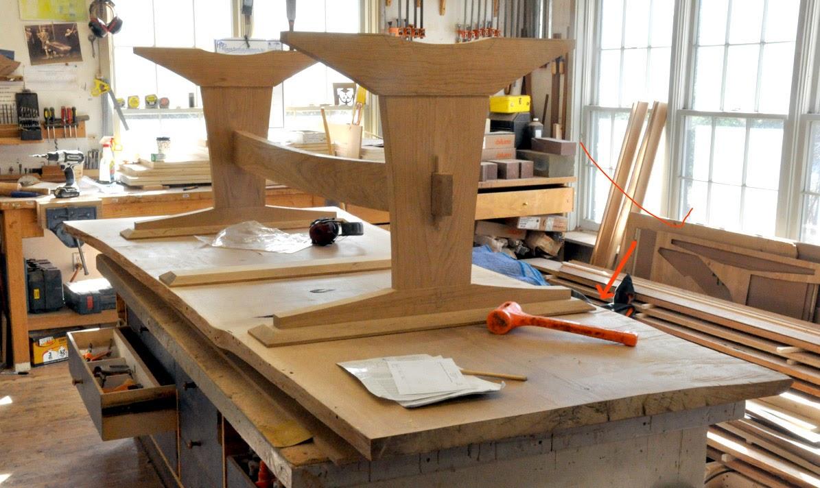 An Oak Slab Trestle Table