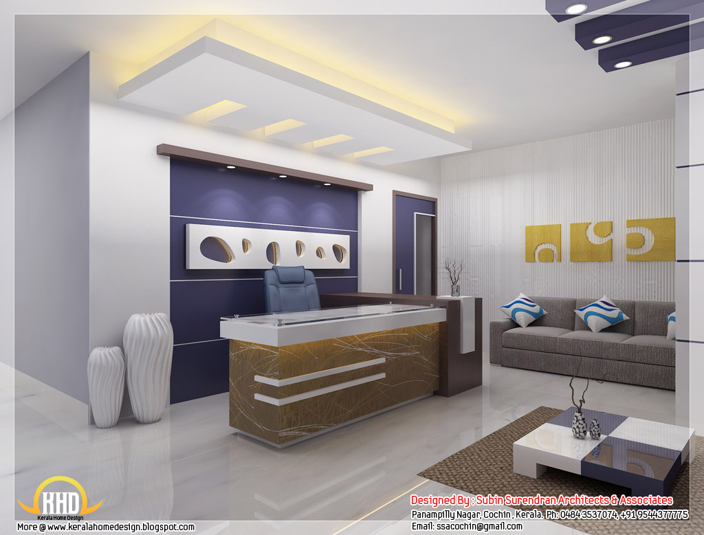 Beautiful 3d interior office designs kerala home design Office interior decorating ideas pictures
