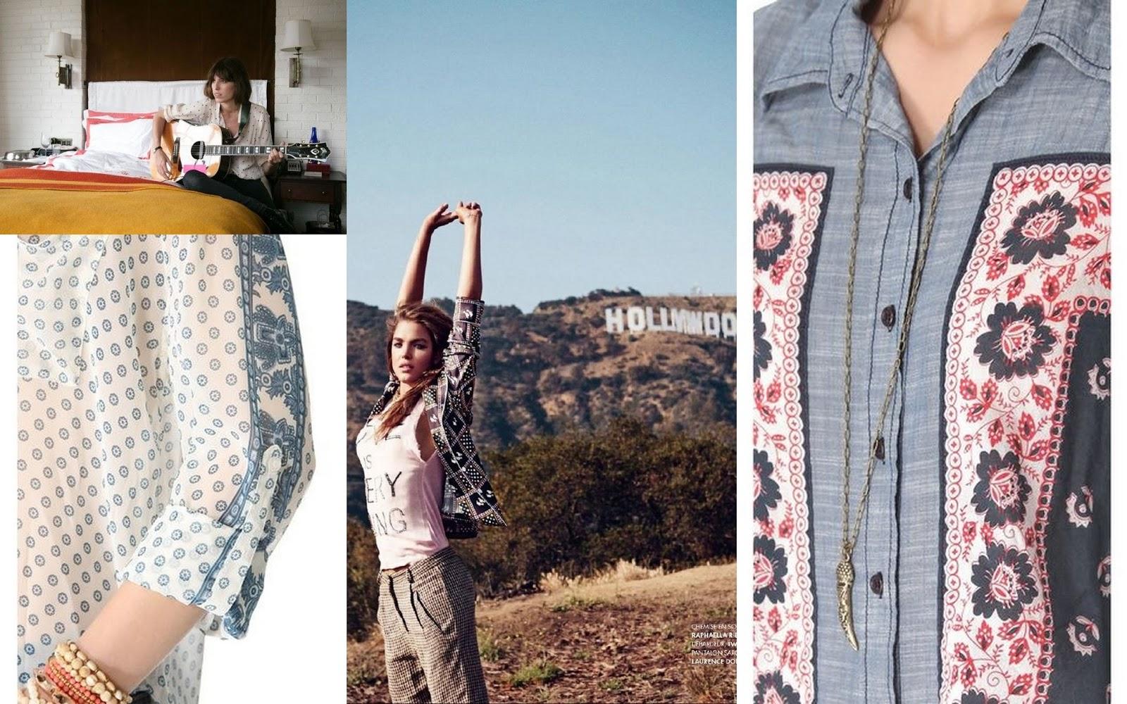 Bandana print, Free people Blouse, erin style, Lou Doillon, polka dot blouse