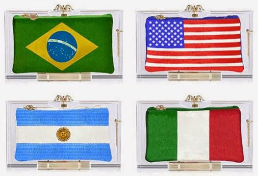 clutches bandeiras países para o Mundial Charlotte Olympia