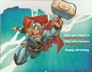 Inside of Thor 2011 Pop up birthday card from Hallmark