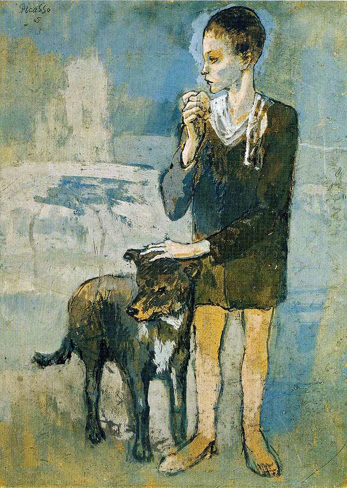 Luzyarte: Pablo Picasso pinta a un muchacho con perro en 1905