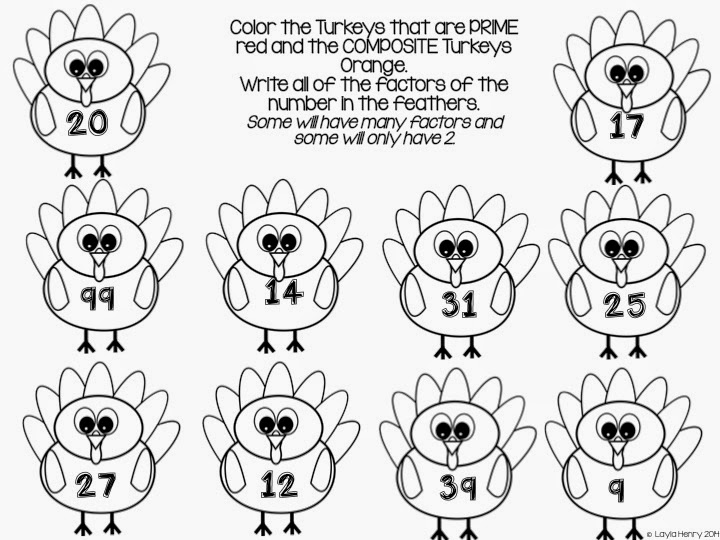 Turkey Factors A Craftivity plus Activities – Factors and Divisibility Worksheets