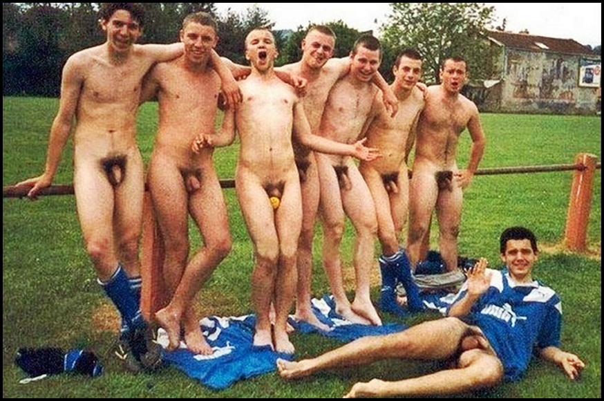 Naked Men Playing Soccer