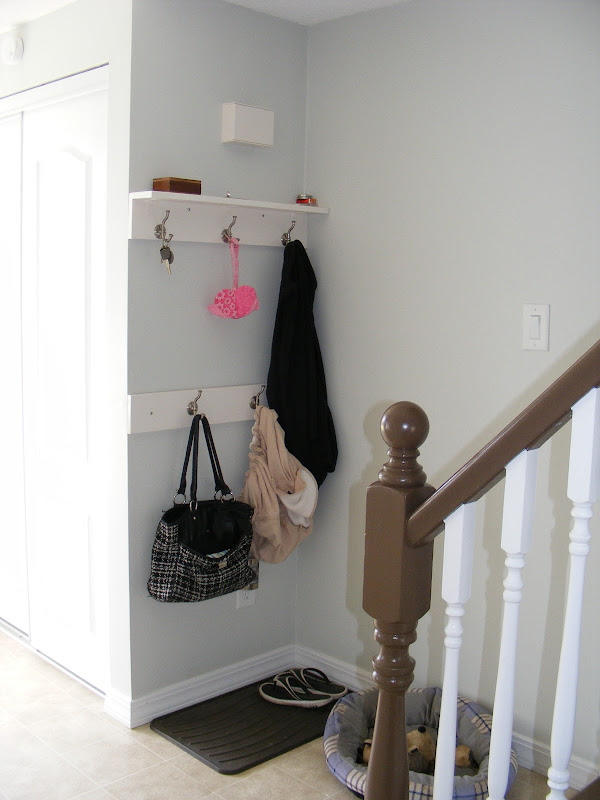 DIY Entryway with Coat Hooks and Shelves