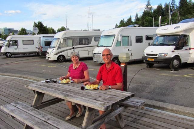 Noorwegen bij de camper op camperplaats Oslo