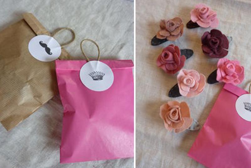 pochette cadeau et fleurs fait maison