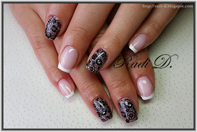 White French Black Lace Gel Polish