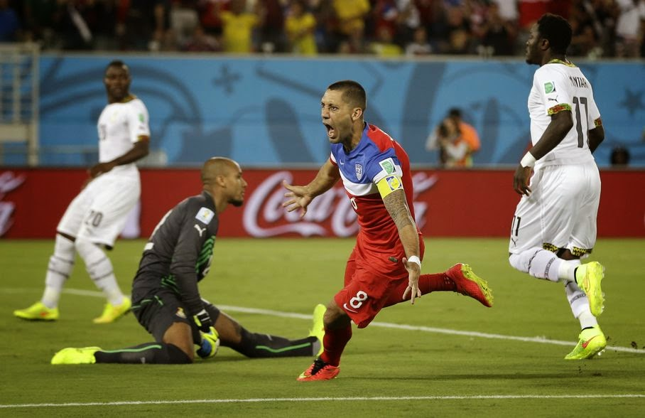 United States' Clint Dempsey turns away and celebrates after scoring the opening goal during the group G World Cup soccer match between Ghana and the United States at the Arena das Dunas in Natal, Brazil, Monday, June 16, 2014.