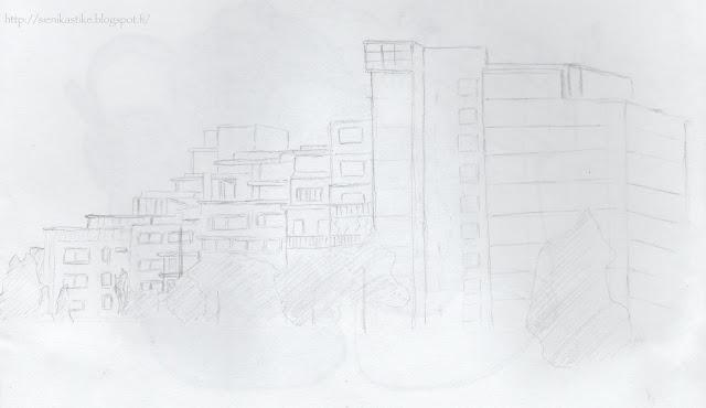 зарисовка, рисунок, карандаш, набросок, архитектура, пейзаж