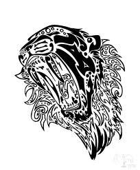 Motif Tato Singa Hitam Putih 12