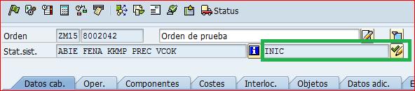 Status inicial de orden SAP