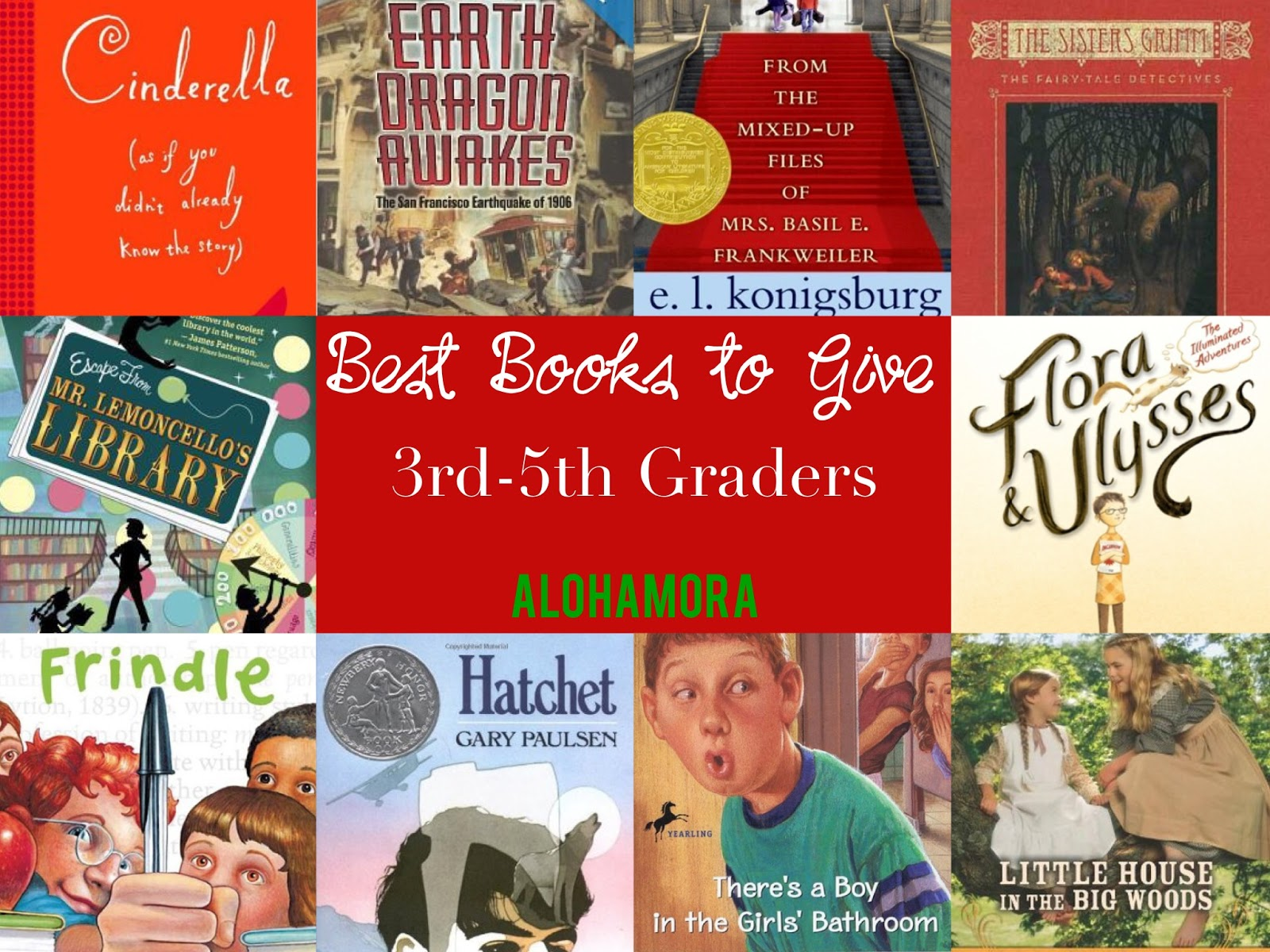 The Best Books to Give a Third (3rd) Fourth (4th) or Fifth (5th) grader.  All genres (mystery, fantasy, realistic, school stories, adventure, etc.) represented.   Books all kids will like as well as specific books for boys and girls.  Check them out.   These books are fabulous books that are bound to get your kid reading.  Alohamora Open a Book http://alohamoraopenabook.blogspot.com/
