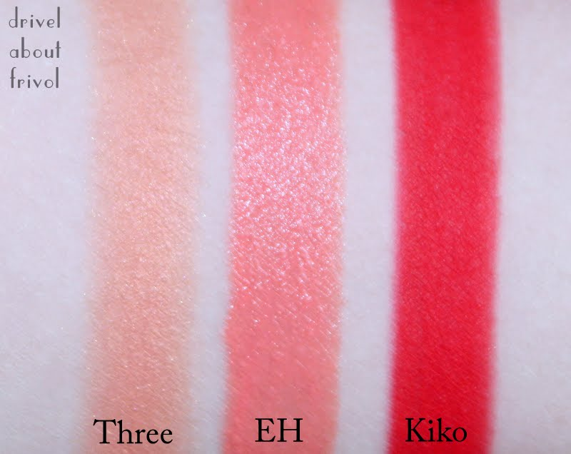 THREE Love Satisfaction, Etude House Play 15 Pencil, Kiko 105 Red Kajal