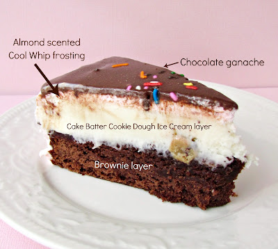 slice of brownie ice cream cake on white plate with pink background