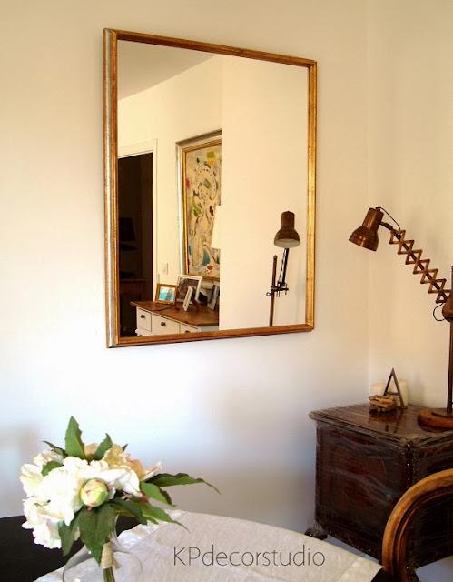 Espejo vintage de madera dorado con pan de oro