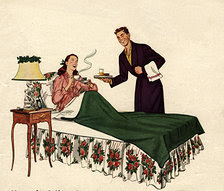 Vintage couple, breakfast in bed