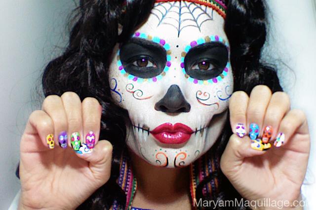 maryam maquillage dia de los muertos sugar skulls calaveras catrinas. Black Bedroom Furniture Sets. Home Design Ideas