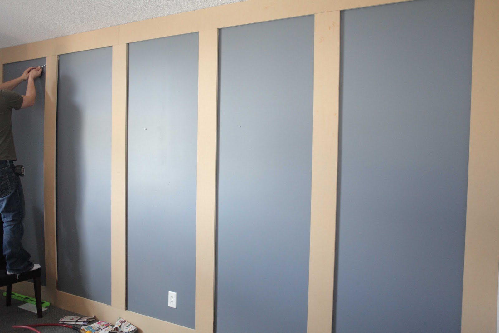 Diy Wall Paneling : Beach house in the city grid panelling diy
