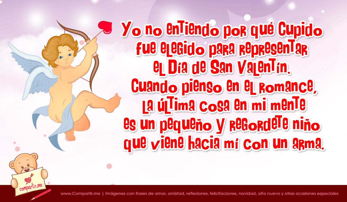 Cupido con frase graciosa por San Valentn
