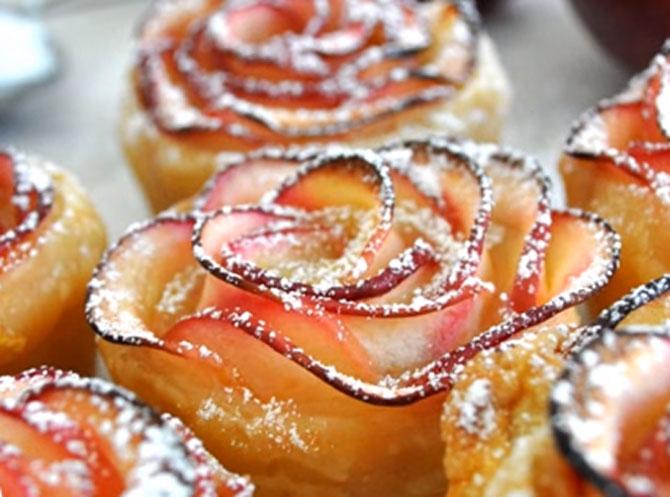Розы из слоеного теста с яблоками рецепт пошаговый 16